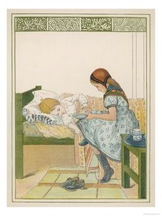Sick-Child-is-Offered-Some-Sustenance-from-a-Girl-Acting-as-Nurse-Giclee-Print-C12381497